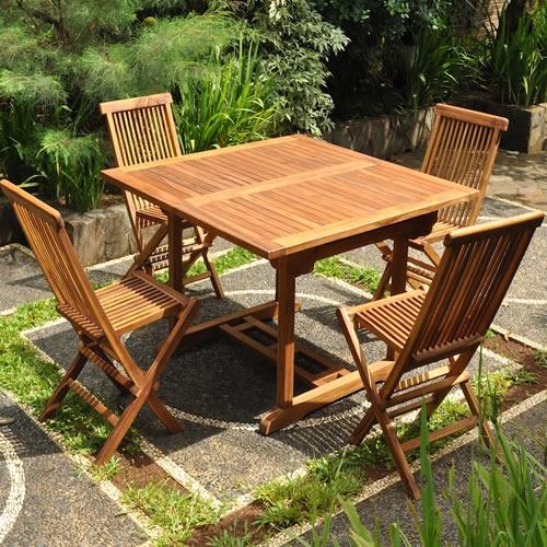 Salon De Jardin En Bois De Teck Huilé 4/8 Pers Table Rect Larg ...